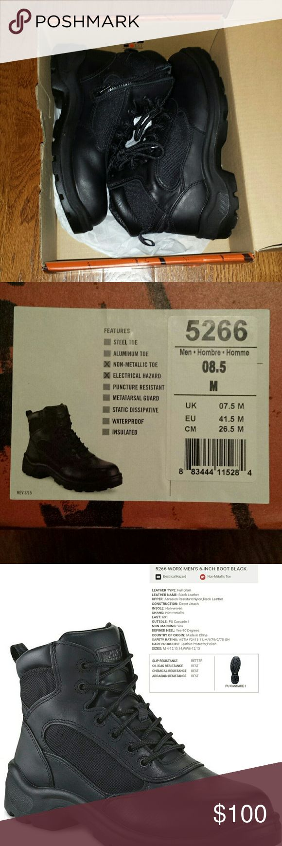 Men's Worx Boots by Red Wing Brand new in box, size 8.5 men's, purchased for firefighter job but unable to wear this brand at new department. Non metallic toe and features electrical hazard. Style number 5266. Red Wing Shoes Shoes Boots