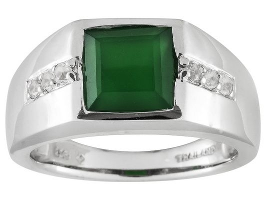 Green Onyx With .30ctw White Topaz Sterling Silver Mens Ring