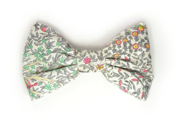 Mens ClipOn Bow Tie pink green grey yellow  flowers by speaklouder, €18.00