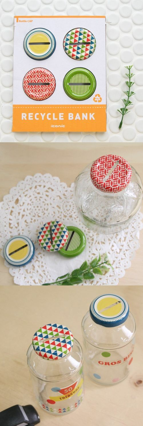 These are so cool! Reuse your old bottles by turning them into cute piggy banks with these super cute bottle caps. (Also comes with stickers!)
