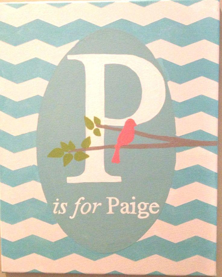 Blue; chevron; canvas; monogram; girl room; girl nursery; bird