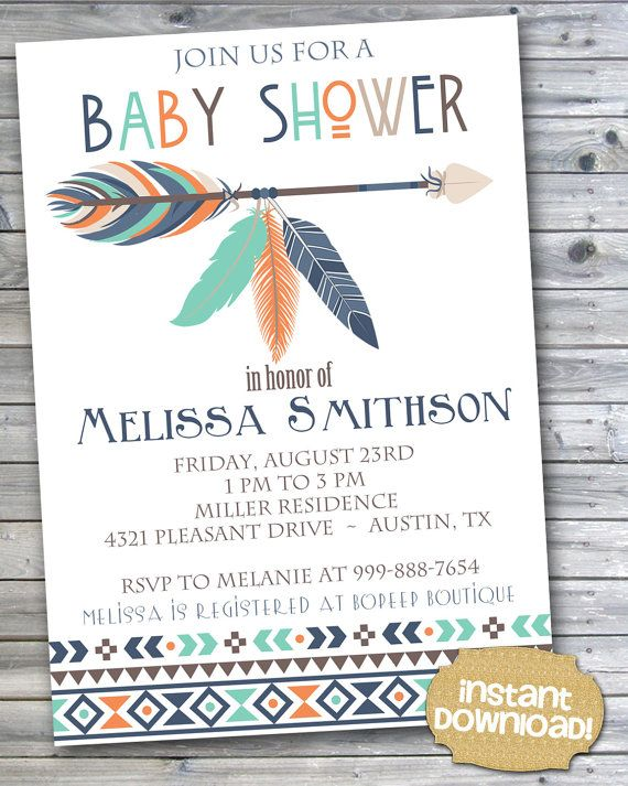 INSTANT DOWNLOAD - Navy Orange Teal Tribal Baby Shower Invitation - Tribal Feather Aztec Invitation - Tribal Arrows Pow Wow Feather - 0131
