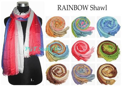 New !! Trendy..Best Seller. Pashmina pelangi rainbow shawl. www.grosirtudung.com
