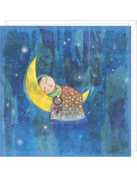 """Muriel Kerba carte double """"La lune comme berceau"""""""