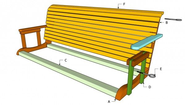 Build a Wooden Porch Swing With These Free Plans: Free Porch Swing Plan from My Outdoor Plans