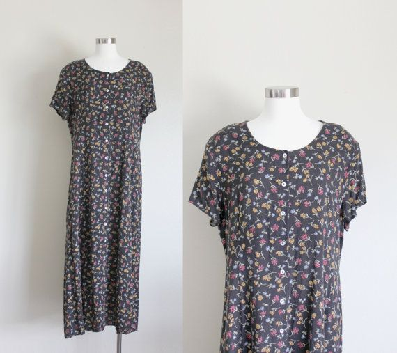 1990s Floral Grunge Maxi Dress by Impressions by apotheosisvintage