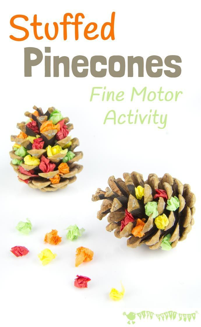 Stuffed Pinecones is a fun Nature craft and fine motor activity for kids to…