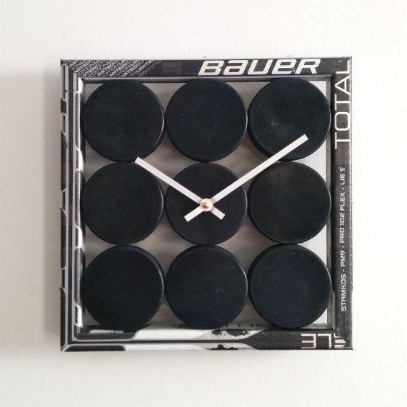 Hockey Puck Clock by HockeyStickBuilds on Etsy