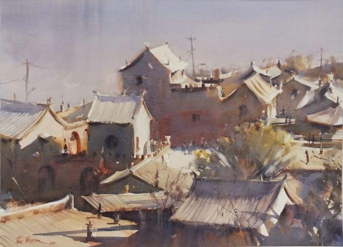 Qikou-on Yellow River-WC 56 x 76 cm 2015