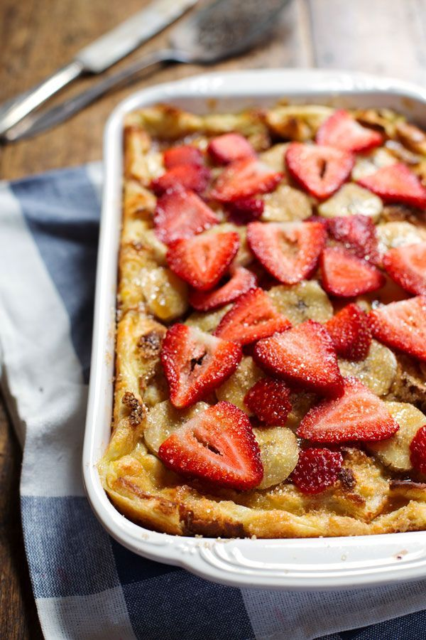 This Super Easy Coconut French Toast Bake can be made with just five ingredients! A colorful, pretty, simple brunch dish.