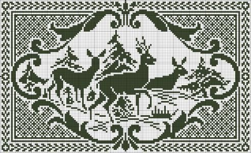 Deer in the Forest - Chart and written instructions for filet crochet.