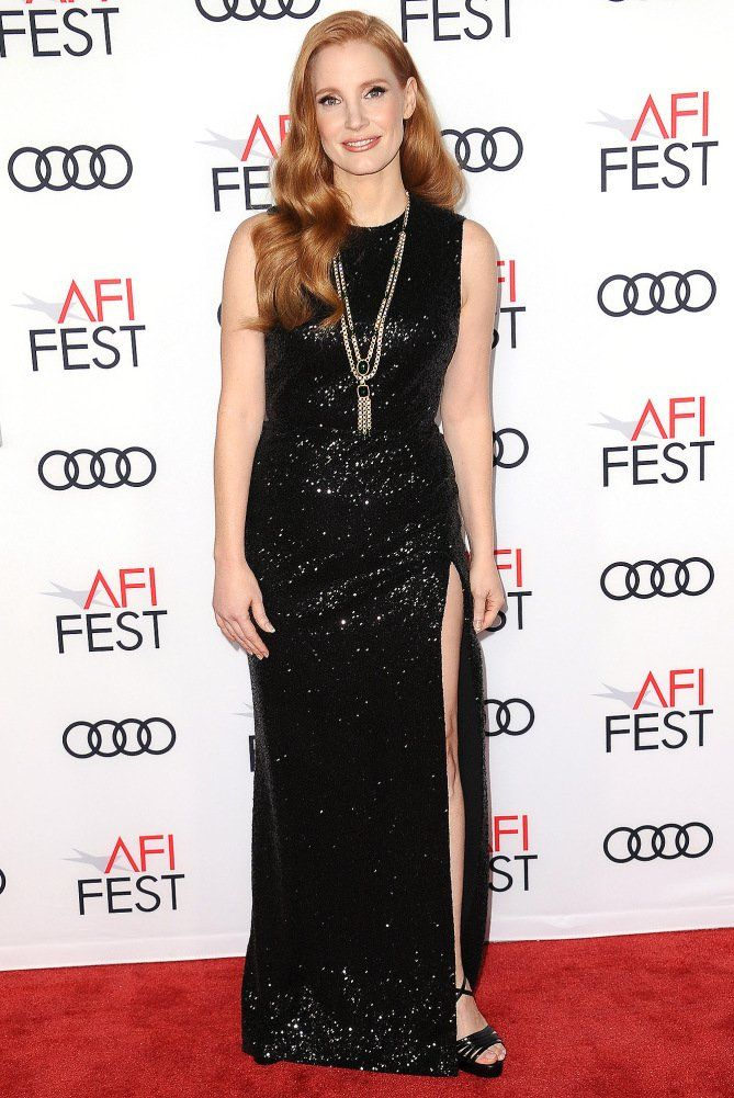 Jessica Chastain in a black sequin dress