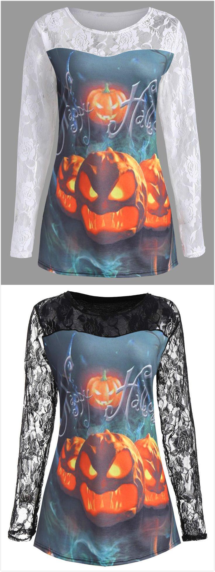 Plus Size Lace Panel Halloween Pumpkin T-shirt