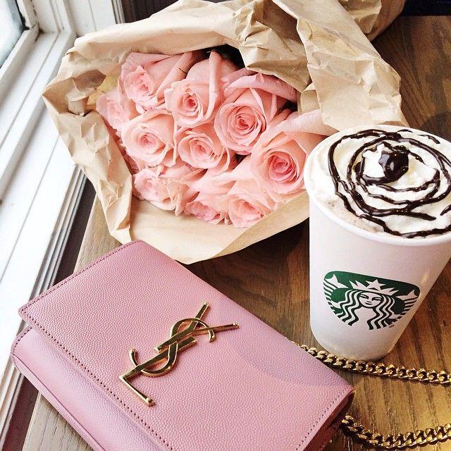 ysl bag, pink roses, coffee
