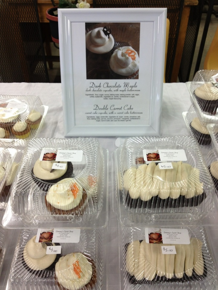 Carrot Cake cupcakes with Carrot Cake buttercream, and Dark Chocolate cupcakes with Maple buttercream.  SOLD OUT!