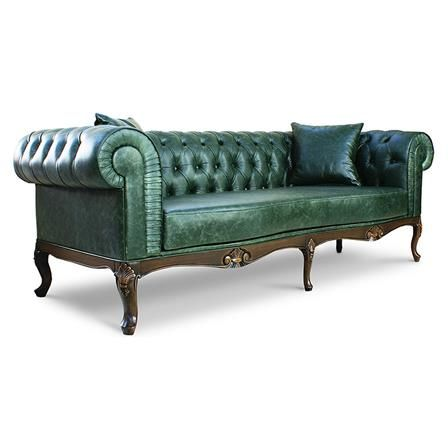 Royal Chesterfield Green Leather Sofa With Brown Legs