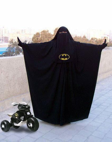 A Muslim Batman fan. (This isn't a burka... I'm assuming it's jilbab (the overrobe), hijab(the headscarf), niqab(the face covering)