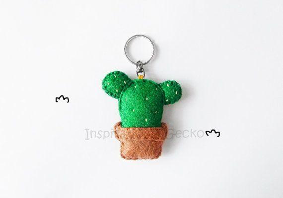 Succulent felt keychain cute stuffed cactus by InspirationalGecko