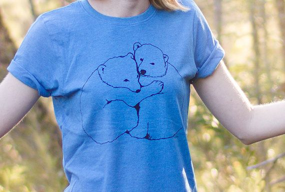 Eco Tshirt Blue Polar Bears 100 recycled organic by Cliffwatcher