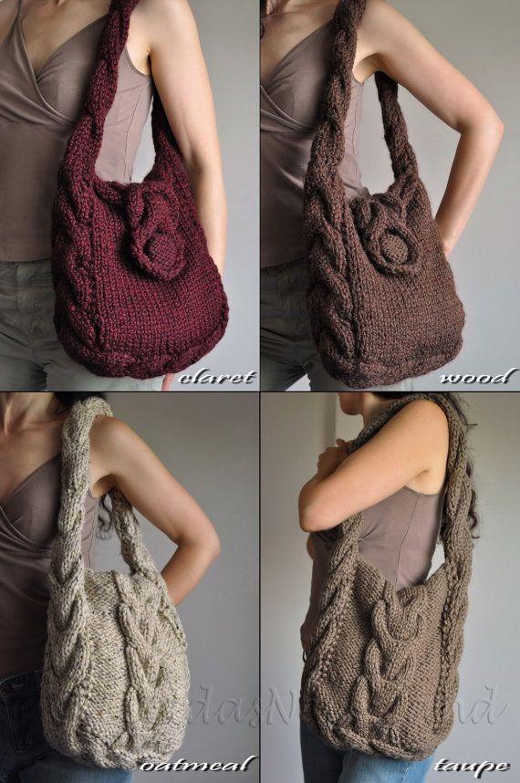 Hand knit cable shoulder bag messenger tote by EveldasNeverland