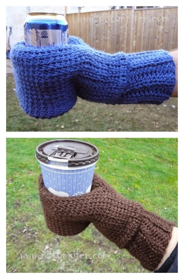 Crochet Beverage Cozy Mitt Free Pattern