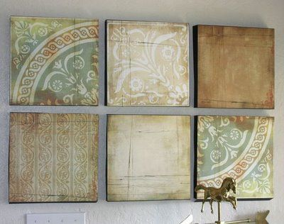 Scrapbook paper as wall art (in album frames, or mounted on cut styrofoam). Saah-weet. #walls