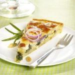 Quiche van spinazie, munt, geitenkaas & Double Enghien Brune