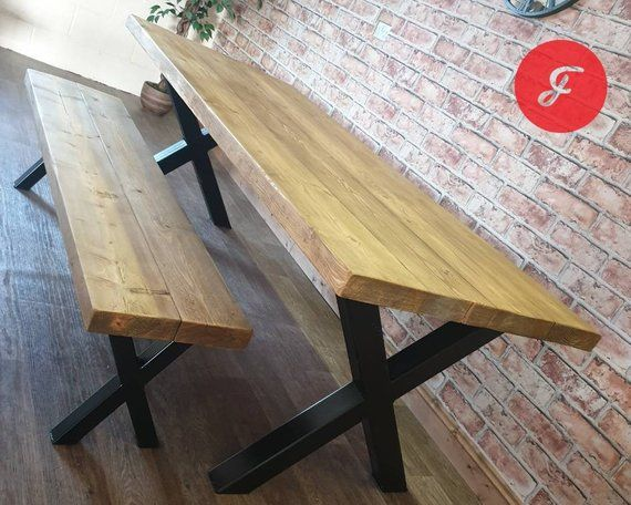 Industrial Dining Table And Bench Set With Reclaimed Wood Top Etsy Table And Bench Set Industrial Dining Table Farmhouse Dining Table Set