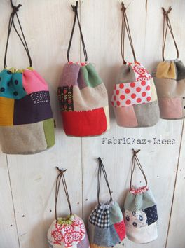 komebukuromitai one may be able to reproduce similar bag with patchwork, with pellon backing fabric and strong cord drawstring. Very cute as party favors for young lady's event. (thinking LParis)