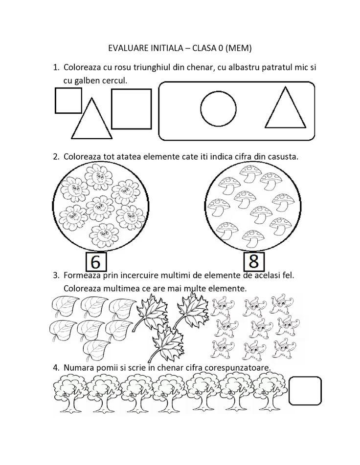 FISE de Evaluare Initiala pentru clasa 0/ Pregatitoare MEM - Matematica | Fise de lucru - gradinita