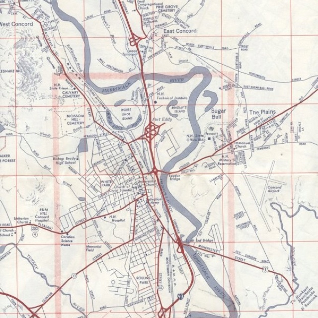 Vintage Map Of Concord NH  Road Geeking  Pinterest