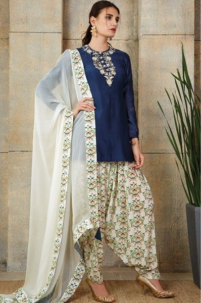 eSahiba.com offers designer collection of Payal Singhal Blue Patiala Style Party Wear Designer Salwar Kameez by Alia Bhatt Online at affordable prices with free shipping worldwide and cash on delivery in India