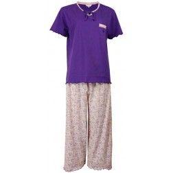 Romantische dames pyjama met capri bloemetjes broek en kortmouwige paarse top