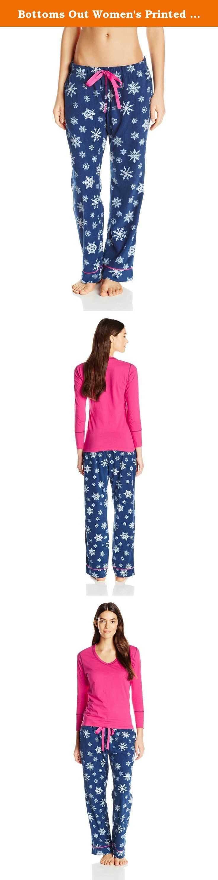 Bottoms Out Women's Printed Ladies Microfleece Pajama Set, Navy, Medium. Ladies pajama set with knit V-neck top and micro fleece pants.