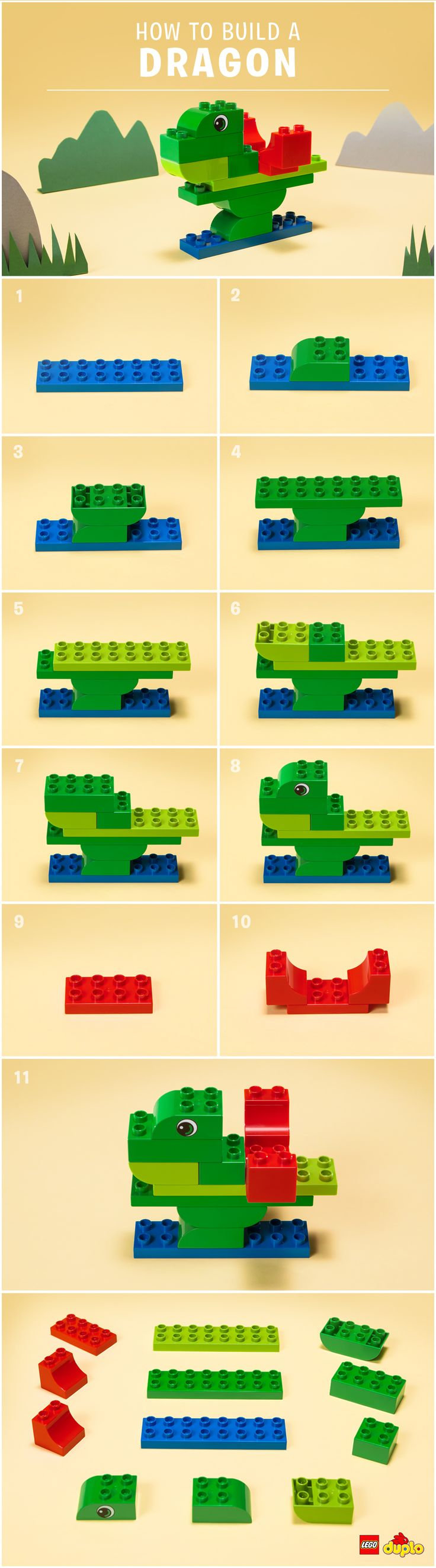 Rooooaaar! Find out here how to build this LEGO DUPLO dragon with your little one: http://www.lego.com/en-us/family/articles/the-unlikely-way-to-help-with-tantrums-ce9832ac263c4c9ba8abfc785d3bacba