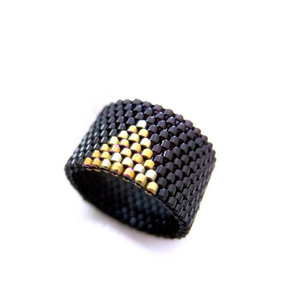 Gold Triangle Ring, Beaded Black Ring, Black Triangle Ring, Dreadlock Bead…