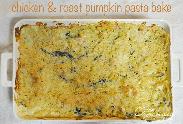 Chicken and roast pumpkin pasta bake