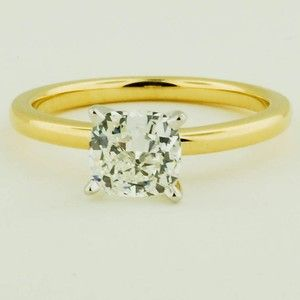 18K Yellow Gold 2mm Comfort Fit Ring – Set with a 1.24 Carat, Cushion, Ideal Cut…