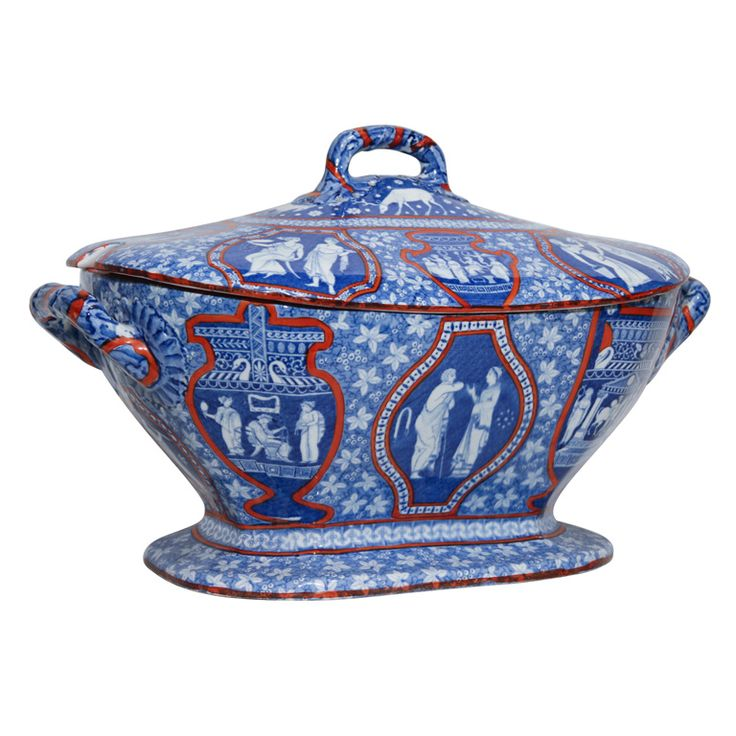 """This Spode, Clobbered, Greek Pattern Tureen has classical figures printed on earthenware.  According to Leonard Whiter's """"Spode A History of the Family, Factory and Wares From 1733 to 1833"""" this was among the first multi-scene patterns introduced by Spode. The main source for the patterns is the work of Sir William Hamilton."""