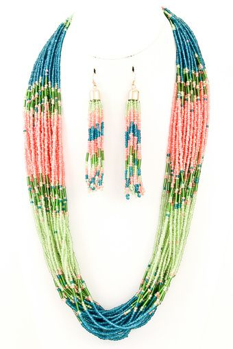 Blue/Pink/Green Seed Bead