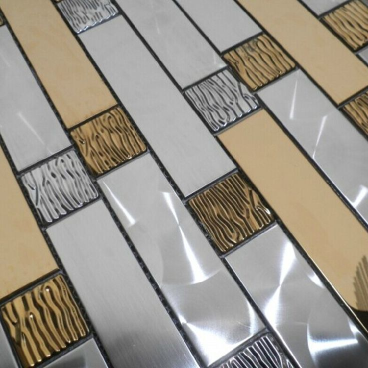 Silver gold metal mosaic kitchen wall tiles backsplash for 3d tiles for kitchen wall