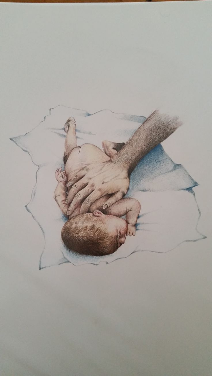 A drawing I did for a friend's book, Baby massage, Louise M Hewett 2016