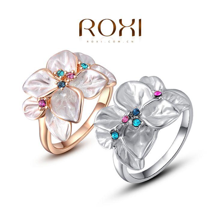 Дешевое Roxi изысканный вырос золотой красочный цветок кольцо покрытием с AAA циркон, мода ювелирные изделия для женщин, лучшие рождественские подарки 2010228290, Купить Качество Кольца непосредственно из китайских фирмах-поставщиках: