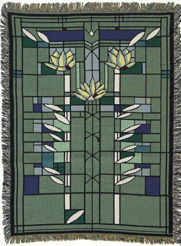Frank lloyd wright waterlilies throw arts and crafts for Frank lloyd wright craftsman
