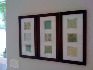 All you need is frames & scrapbook paper. Affordable, easy, do it yourself wall hangings...just what I am looking for right now!