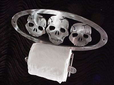 ☠ Gothic Skull Toilet Paper Holder ☠ Neat! Every bathroom needs one of these!