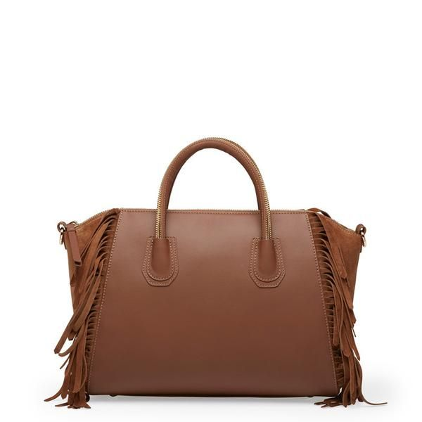 'Holly' bag in cognac leather with suede fringes! It can fit your 13'' laptop! #leowulff #laptop #bag