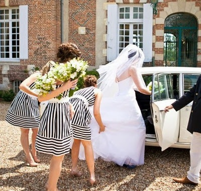 black and white striped bridesmaid dresses? i die. in love.