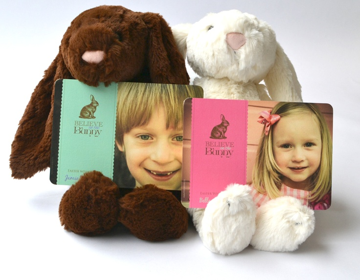 Adorable plus bunnies with personalised Easter cards from Macaroon