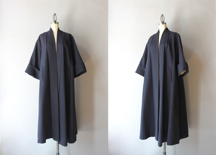 1950s Coat / Vintage 50s Navy Clutch Coat / Fifties by HolliePoint